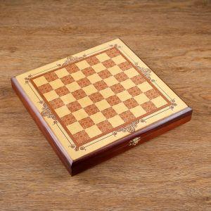"""Шахматы """"Золотая классика"""" (доска дерево 30х30 см, фигуры дерево, Король h=8 см) 334716"""