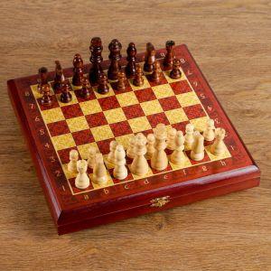 "Шахматы ""Тёмно-красная классика"" (доска дерево 30х30 см, фигуры дерево, король h=8 см) 334715"