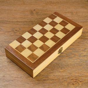 Шахматы деревянные, доска из сборных элементов, 30 ? 30 см, фигуры в подложке микс 1419017