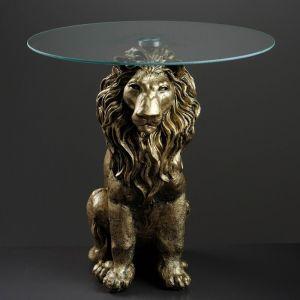 "Стол ""Лев сидя"", бронза 60см, полистоун"