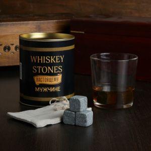 "Набор камней для виски ""Whiskey stones. Vintage"", 3 шт в тубусе, со стаканом 4074828"