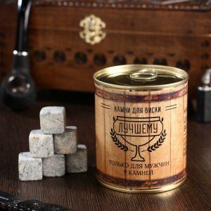 """Набор камней для виски """"Настоящему мужчине. Бочка"""", в консервной банке, 9 шт. 4832939"""