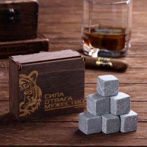 Камни для виски «Сила. Отвага. Мужество», в деревянной упаковке, 9 шт.
