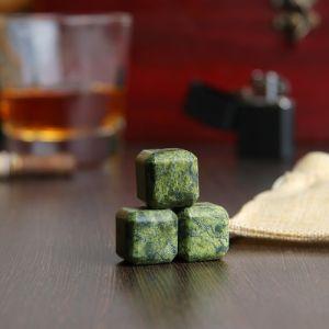 Набор камней для виски, 3 шт, 2х2х2 см, змеевик 4204351