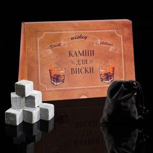 Набор камней для виски, 9 шт, с бархатным мешочком, в картонной коробке 3681464