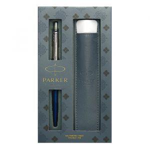 Набор: ручка шариковая автоматическая Parker Jotter Core K63 (2020374) Royal Blue CT, чёрный стержень + чехол