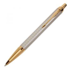 Ручка шариковая Parker IM Premium Grey GT M, корпус серый глянцевый/ золотой, синие чернила (1931687)