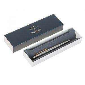 Ручка шариковая Parker Jotter Core K691 Stainless Steel GT M, корпус серебристый глянцевый (золото), синие чернила