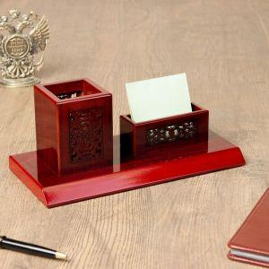 Набор настольный 2в1 (визитница, карандашница) красное дерево 12*25,5см 1527969