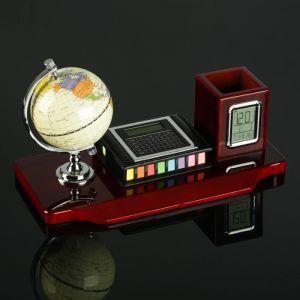 Набор настольный 3в1 (блок д/бумаг, карандашница с часами, глобус, калькулятор) 4428137