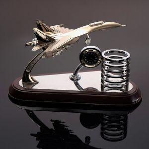Набор настольный 3в1 (самолёт, часы, подставка д/ручек), 14.5х25 см 3598555
