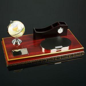 Набор настольный 4в1 (глобус, блок д/бумаг, подаставка д/печати, органайзер 3-секц с часами) 4428132
