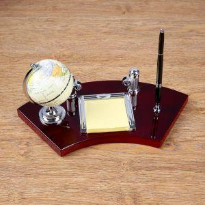 Набор настольный 4в1 (глобус, блок д/бумаги, подставка д/визиток, ручка), 18х35 см 3598551