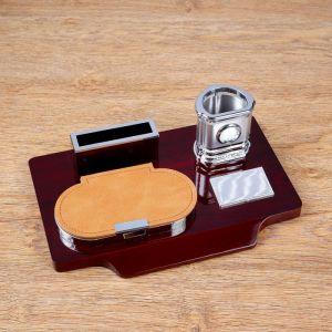 Набор настольный 4в1 (карандашница с часами, блок для бумаги, визитница) 30*20*10см 4468217