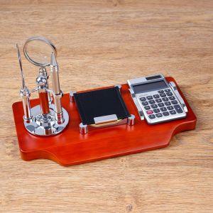 Набор настольный 5в1 (блок д/бумаг, лупа, ручка, нож д/бумаги, калькулятор) 4428135