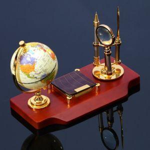 Набор настольный 5в1 (глобус, лупа, нож д/писем, ручка, блок д/бумаги), 19х30 см 3598553