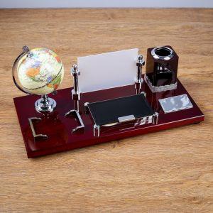 Набор настольный 5в1 (глобус,подст. п/ручки,подст.д/бумаг, фоторамка,скреп) 506127