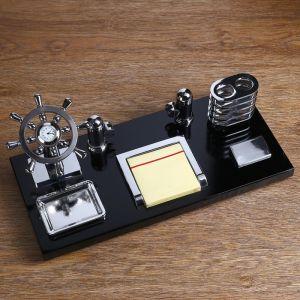 Набор настольный 5в1 (часы,пепельница,ручка,визитница,блок д/бумаги) 15*35см дерево+стекло 400188