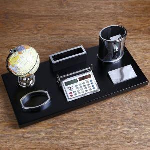 Набор настольный 6в1 (глобус PVC, визитница, лого, калькулятор,карандашница,скреп.)18*38 см 1527974