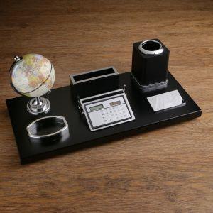 Набор настольный 6в1 (глобус, подставка под визитки, подставка, бумага,держатель) красн дер. 670082