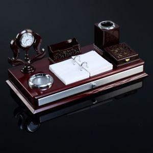 Набор настольный 7в1 (часы в резн.канте,подст, п/визитки,подставка,бумага,держат-ь)20х39х19 с 186771
