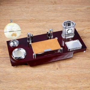 Набор настольный 7в1 (часы, блок д/бумаги,визитица,глобус, подст д/печати,каранд) 40*20*17см 4468216