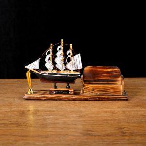 Набор настольный «Корабль»: визитница, подставка для ручки, 15 х 22 х 7 см