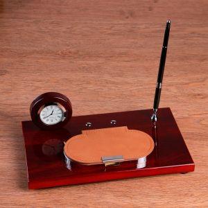 Набор настольный: часы, визитница, ручка, блок для бумаги