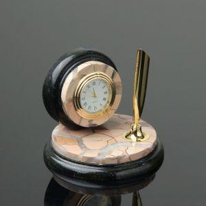 """Набор настольный """"Круг"""", с часами, 10х10 см, яшма, змеевик 4204298"""