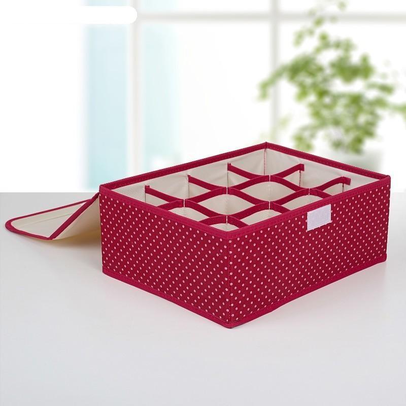 Складной кофр для хранения носков и нижнего белья (цвет красный)