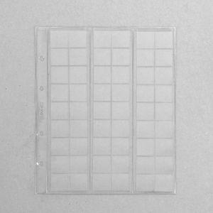 Комплект листов для монет, 5 штук, 200 х 250 мм, на листе 54 ячейки, 24 х 25 мм, скользящий