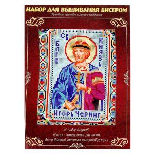 Вышивка бисером «Святой Игорь князь Черниговский», размер основы: 21,5?29 см