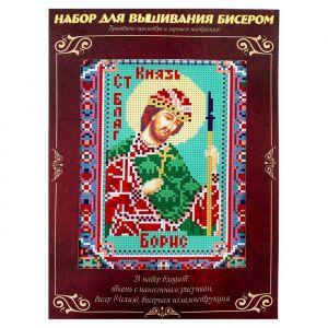 Вышивка бисером «Святой Князь Борис», размер основы: 21,5?29 см