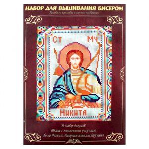 Вышивка бисером «Святой Мученик Никита», размер основы: 21,5?29 см