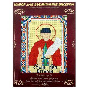 Вышивка бисером «Святой Преподобный Виталий», размер основы: 21,5?29 см