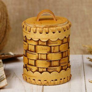 Туес «Велюр», плетеный, 6х6х9 см, береста 3312849