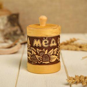 Туес «Цветочный», мёд, 6?9,5 см, береста 1223343