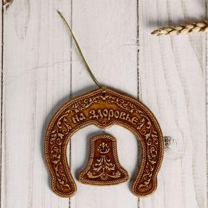 Сувенир «Подкова»,На счастье, на удачу, на здоровье, с колокольчиком, береста 4859774