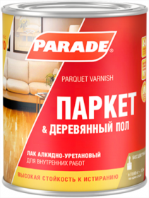 Лак Паркетный  Parade Classic L10 Паркет & Деревянный Пол 10л Глянцевый, Бесцветный, Алкидно-Уретановый / Парад Классик L10