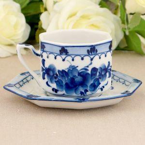 """Чайная пара """"Европейская"""", гжель, фарфор, 2с 1563628"""