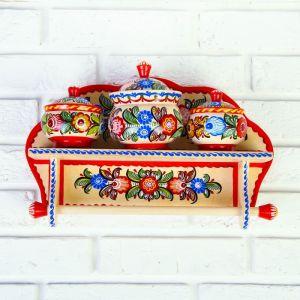 Набор, 4 предмета: полка, 3 банки под сыпучее, городецкая роспись 4178040