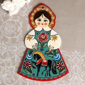 Доска разделочная «Девочка», городецкая роспись, 18х31 см   4733769