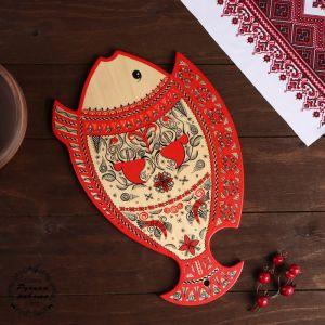 Доска разделочная «Рыбка», 35?0,8?23 см, мезенская роспись 3686326