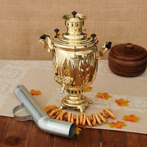 Самовар «Золото», лист, 5 л, жаровой, труба входит в комплектацию 3837742