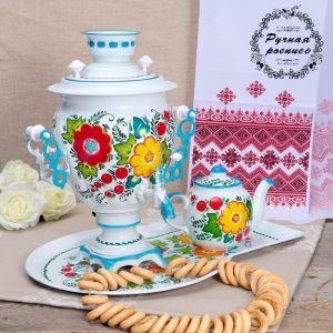 Набор «Букет на белом», жёлудь, 3 предмета, самовар 3 л, заварочный чайник 0,7 л, поднос 1059773