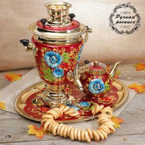 Набор «Васильки», рюмка, 3 предмета, самовар 3 л, заварочный чайник 0,7 л, поднос 3542399