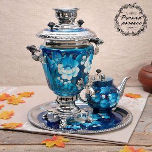 Набор «Жостово на синем», рюмка, 3 предмета, самовар 3 л, заварочный чайник 0,7 л, поднос 773874