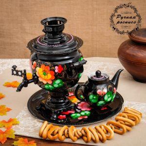 Набор «Жостово на чёрном», овал, 3 предмета, самовар 3 л, заварочный чайник 0,7 л, поднос 3542398