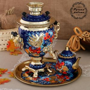 Набор «Птица на синем», жёлудь, 3 предмета, самовар 3 л, заварочный чайник 0,7 л, поднос 3542400