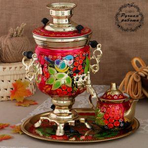 Набор «Рябина», 3 предмета, самовар 3 л, заварочный чайник 0,7 л, поднос 3542401